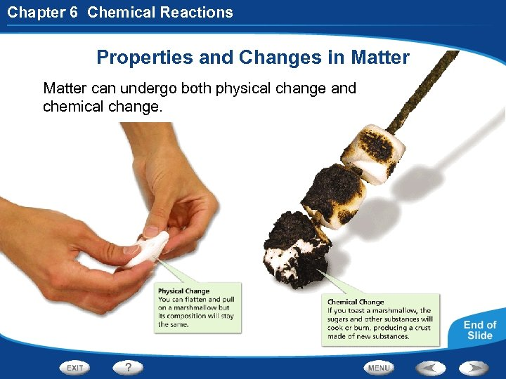 Chapter 6 Chemical Reactions Properties and Changes in Matter can undergo both physical change