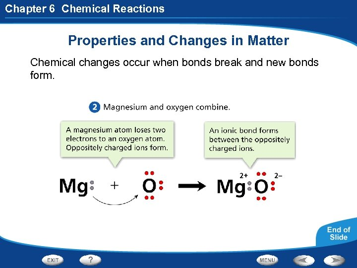 Chapter 6 Chemical Reactions Properties and Changes in Matter Chemical changes occur when bonds