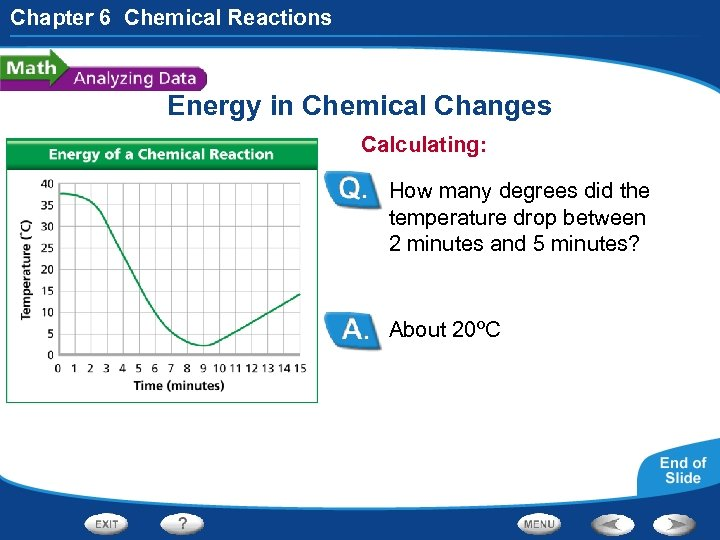 Chapter 6 Chemical Reactions Energy in Chemical Changes Calculating: How many degrees did the