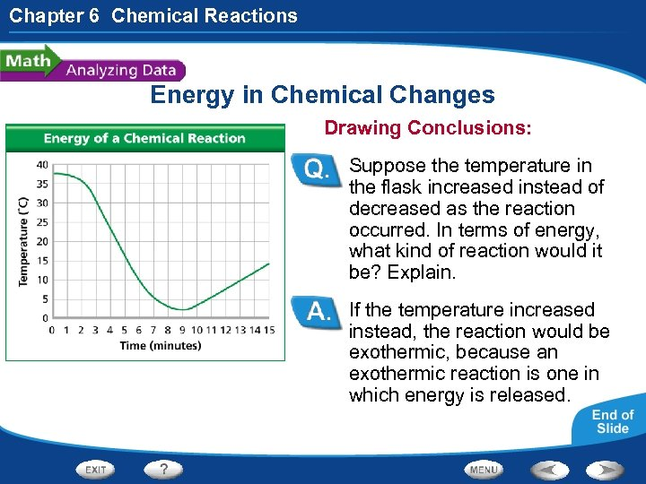Chapter 6 Chemical Reactions Energy in Chemical Changes Drawing Conclusions: Suppose the temperature in