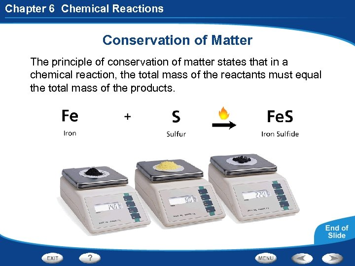 Chapter 6 Chemical Reactions Conservation of Matter The principle of conservation of matter states