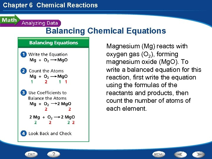 Chapter 6 Chemical Reactions Balancing Chemical Equations Magnesium (Mg) reacts with oxygen gas (O