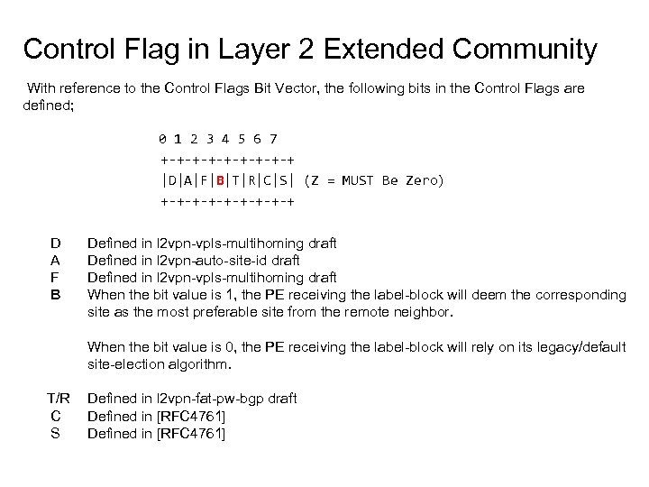 Control Flag in Layer 2 Extended Community With reference to the Control Flags Bit