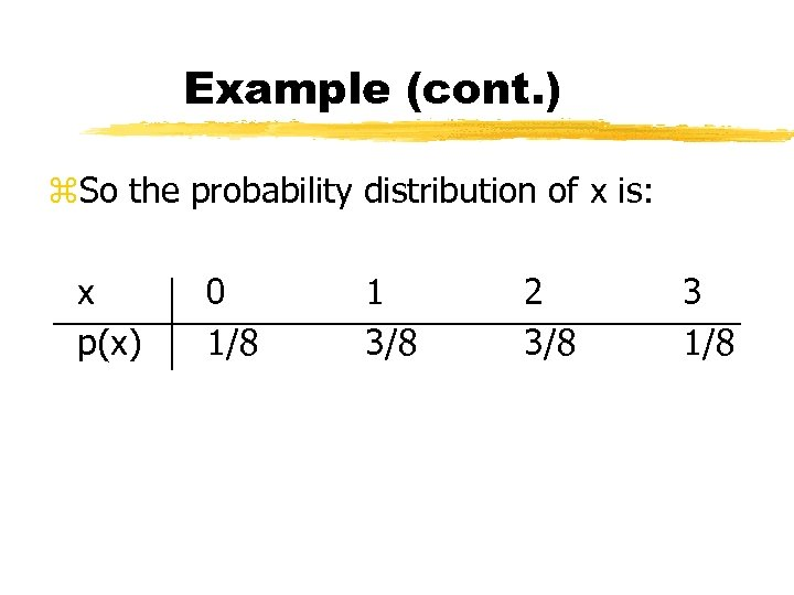 Example (cont. ) z. So the probability distribution of x is: x p(x) 0