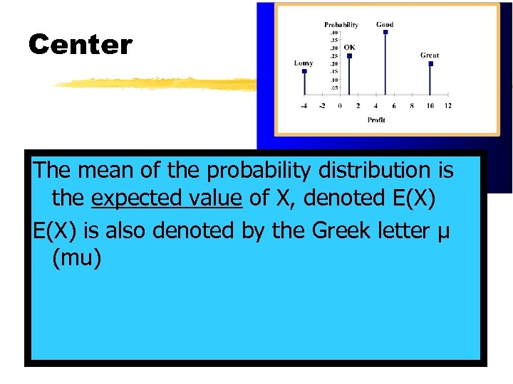 Center The mean of the probability distribution is the expected value of X, denoted