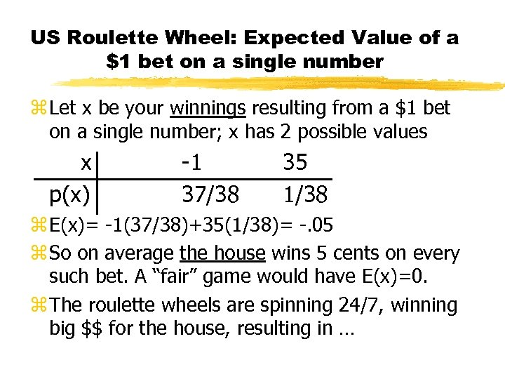 US Roulette Wheel: Expected Value of a $1 bet on a single number z
