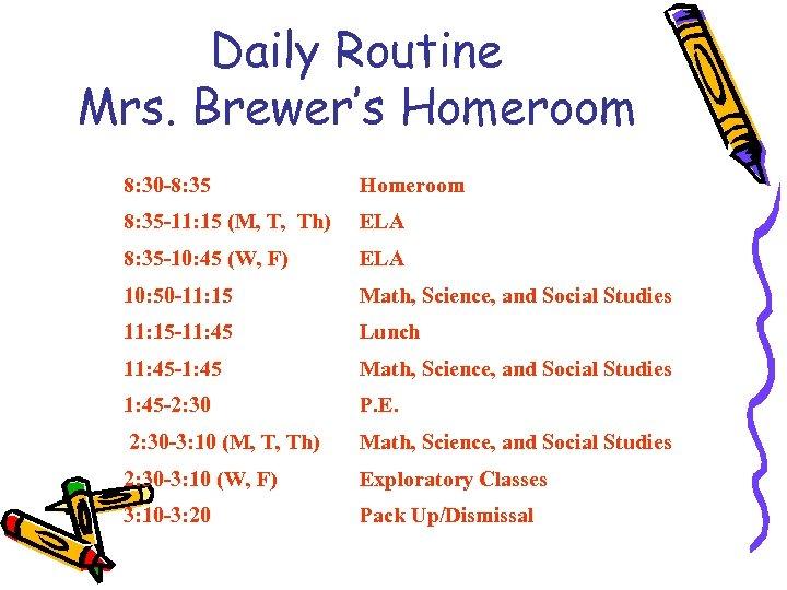 Daily Routine Mrs. Brewer's Homeroom 8: 30 -8: 35 Homeroom 8: 35 -11: 15