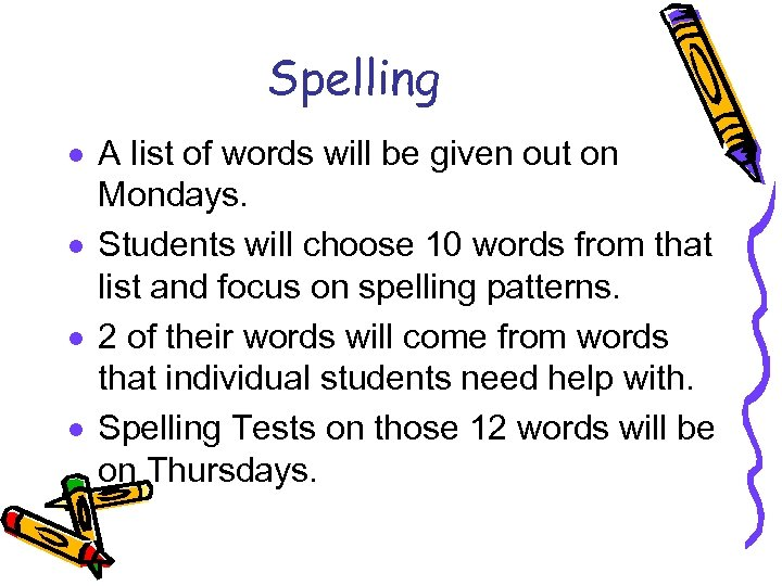 Spelling · A list of words will be given out on Mondays. · Students