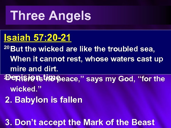Three Angels 1. Fear God Isaiah 57: 20 -21 Give wicked are 20 But
