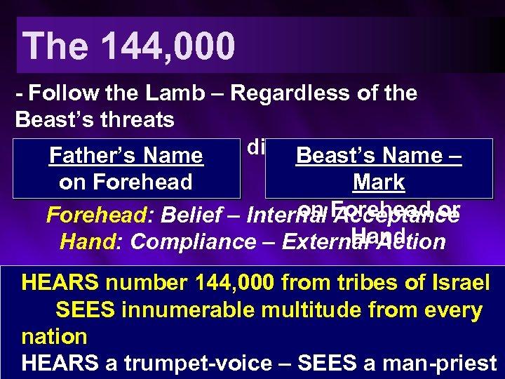 The 144, 000 - Follow the Lamb – Regardless of the Beast's threats -
