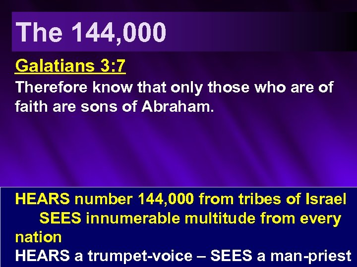 The 144, 000 Galatians 3: 7 Therefore know that only those who are of