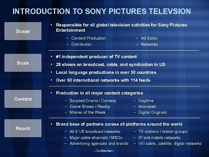INTRODUCTION TO SONY PICTURES TELEVSION Scope • Responsible for all global television activities for