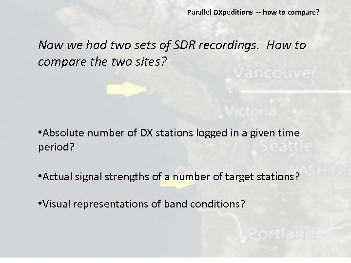 Parallel DXpeditions ‐‐ how to compare? Now we had two sets of SDR recordings.