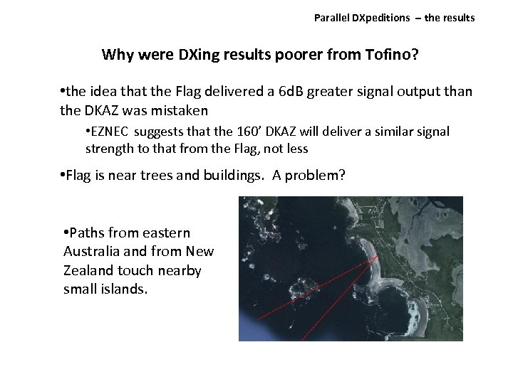 Parallel DXpeditions ‐‐ the results Why were DXing results poorer from Tofino? • the