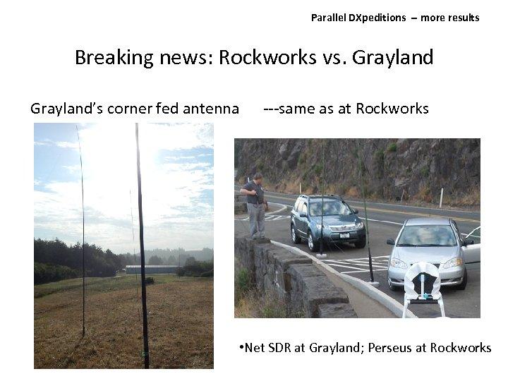 Parallel DXpeditions ‐‐ more results Breaking news: Rockworks vs. Grayland's corner fed antenna ---same