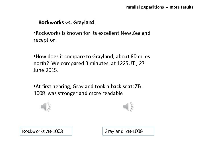Parallel DXpeditions ‐‐ more results Rockworks vs. Grayland • Rockworks is known for its