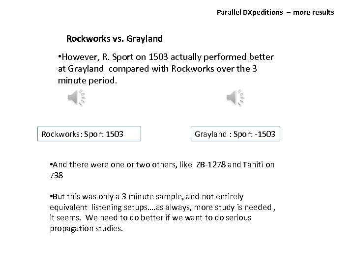 Parallel DXpeditions ‐‐ more results Rockworks vs. Grayland • However, R. Sport on 1503