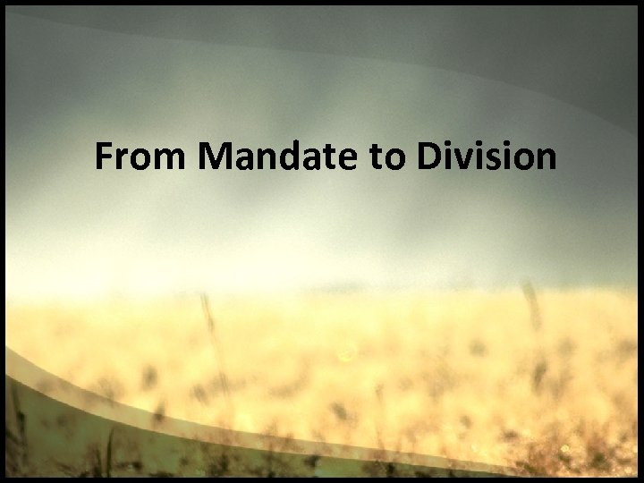 From Mandate to Division