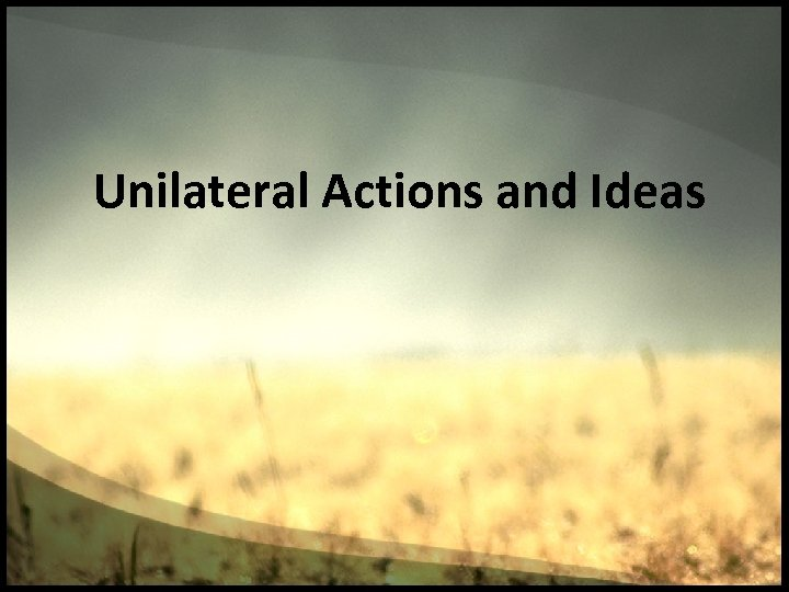 Unilateral Actions and Ideas