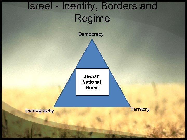 Israel - Identity, Borders and Regime Democracy מדינה Jewish יהודית National Home Demography Territory