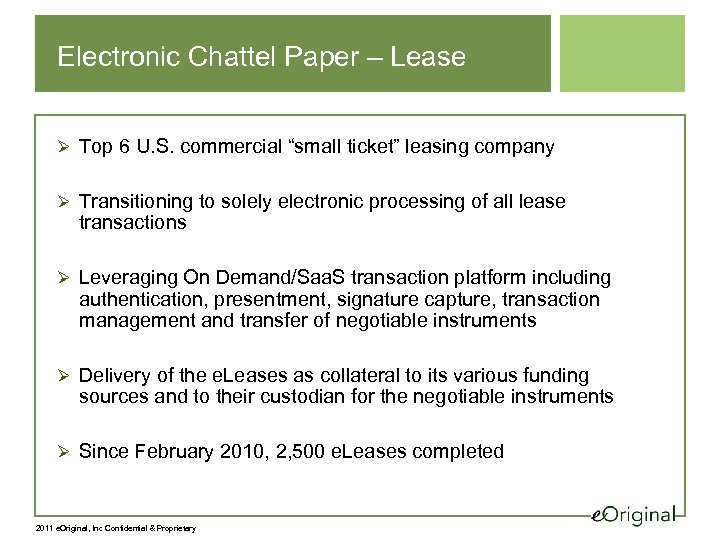 "Electronic Chattel Paper – Lease Ø Top 6 U. S. commercial ""small ticket"" leasing"