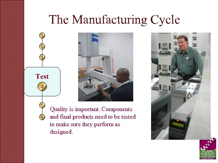 The Manufacturing Cycle 1 2 3 Test 4 5 6 Quality is important. Components
