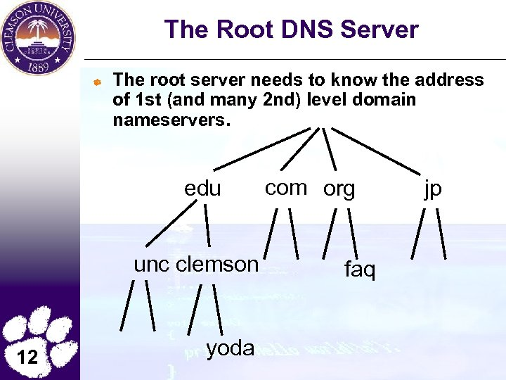 The Root DNS Server The root server needs to know the address of 1