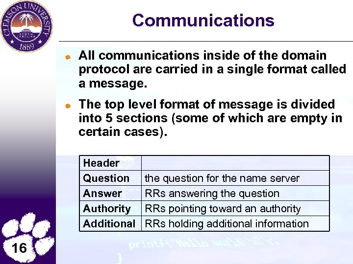Communications All communications inside of the domain protocol are carried in a single format