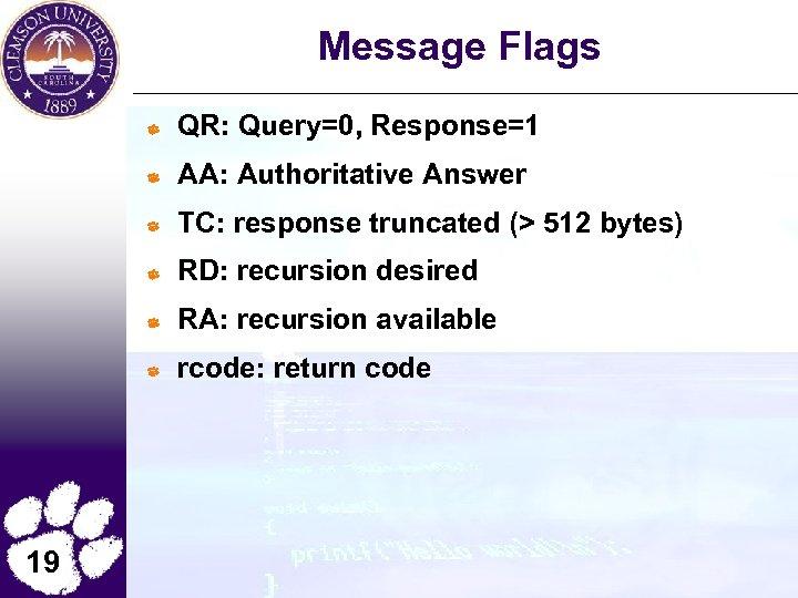 Message Flags QR: Query=0, Response=1 AA: Authoritative Answer TC: response truncated (> 512 bytes)