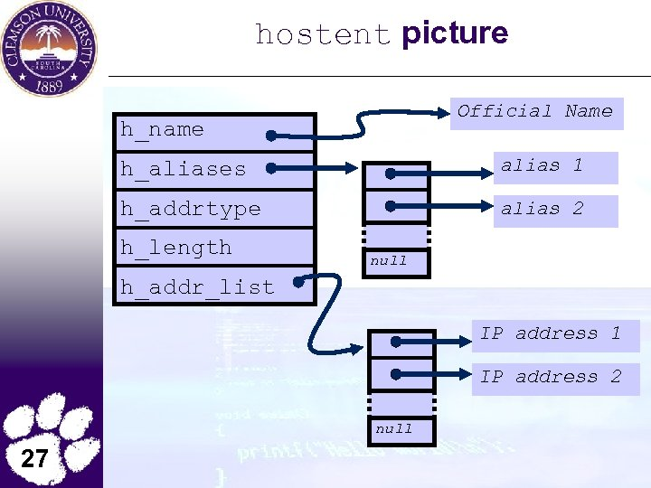 hostent picture Official Name h_name h_aliases alias 1 h_addrtype alias 2 h_length null h_addr_list