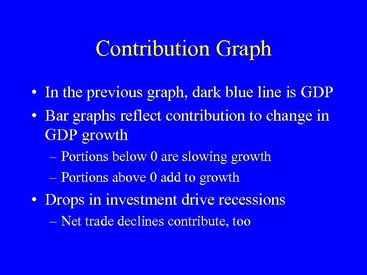 Contribution Graph • In the previous graph, dark blue line is GDP • Bar