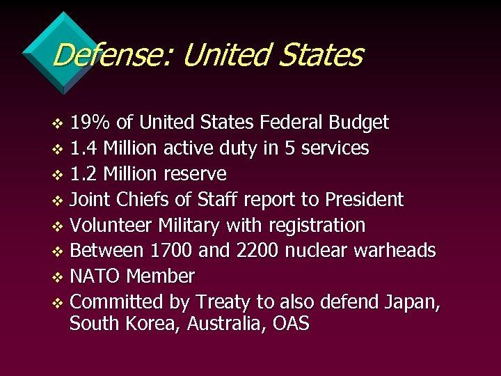 Defense: United States 19% of United States Federal Budget v 1. 4 Million active