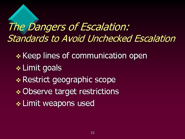 The Dangers of Escalation: Standards to Avoid Unchecked Escalation v Keep lines of communication