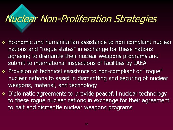 Nuclear Non-Proliferation Strategies v v v Economic and humanitarian assistance to non compliant nuclear