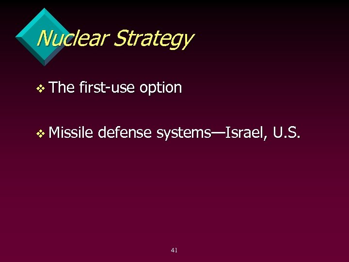 Nuclear Strategy v The first use option v Missile defense systems—Israel, U. S. 41