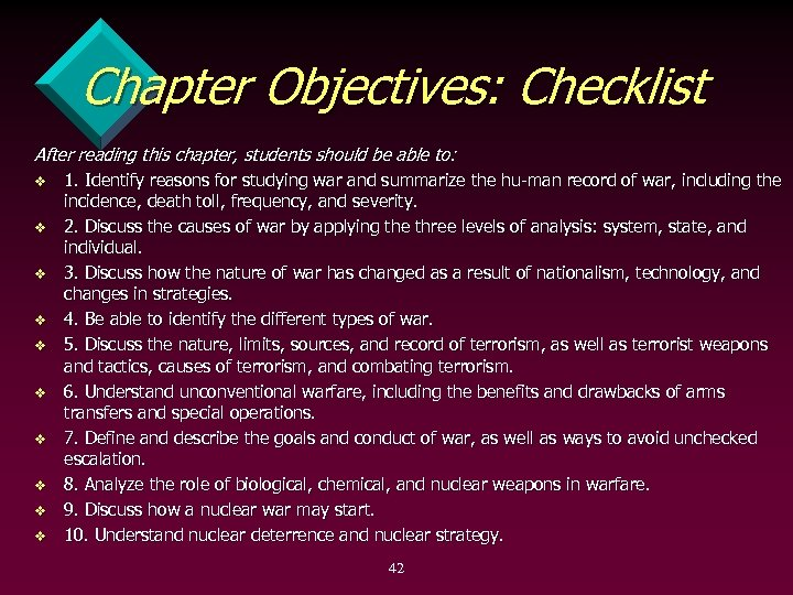 Chapter Objectives: Checklist After reading this chapter, students should be able to: v v