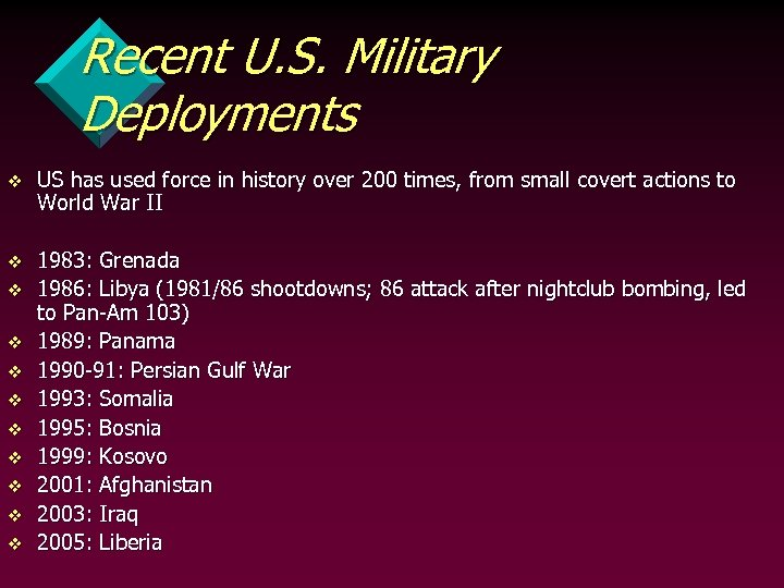 Recent U. S. Military Deployments v US has used force in history over 200