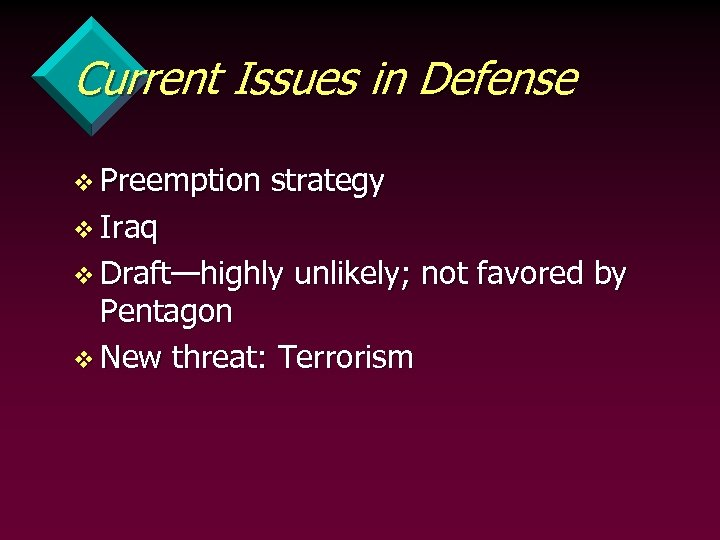 Current Issues in Defense v Preemption strategy v Iraq v Draft—highly unlikely; not favored