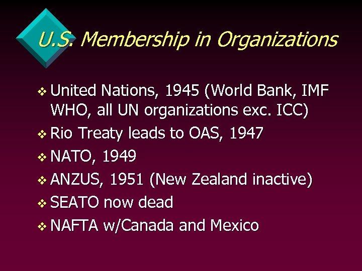 U. S. Membership in Organizations v United Nations, 1945 (World Bank, IMF WHO, all