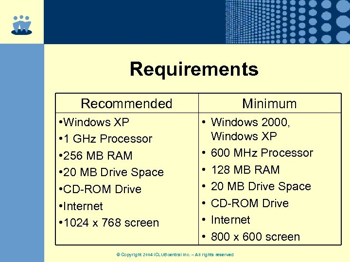 Requirements Recommended • Windows XP • 1 GHz Processor • 256 MB RAM •