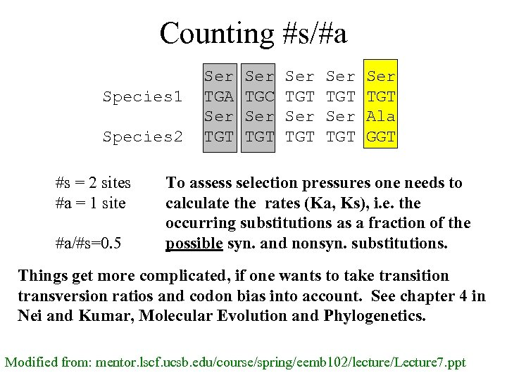Counting #s/#a Species 1 Species 2 #s = 2 sites #a = 1 site