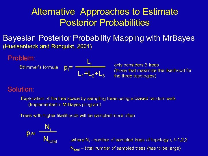 Alternative Approaches to Estimate Posterior Probabilities Bayesian Posterior Probability Mapping with Mr. Bayes (Huelsenbeck