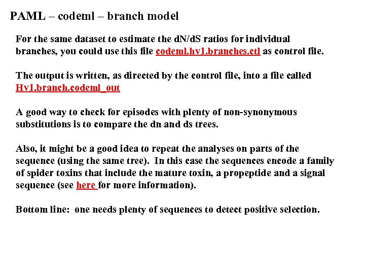 PAML – codeml – branch model For the same dataset to estimate the d.