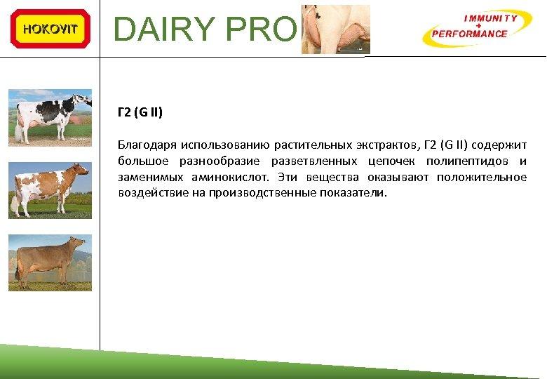 DAIRY PRO Г 2 (G II) Благодаря использованию растительных экстрактов, Г 2 (G II)