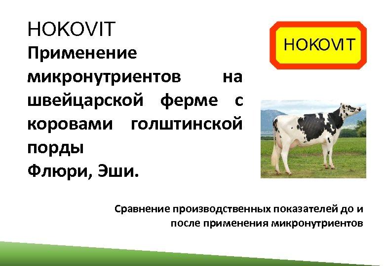 HOKOVIT Применение микронутриентов на швейцарской ферме с коровами голштинской порды Флюри, Эши. Сравнение производственных