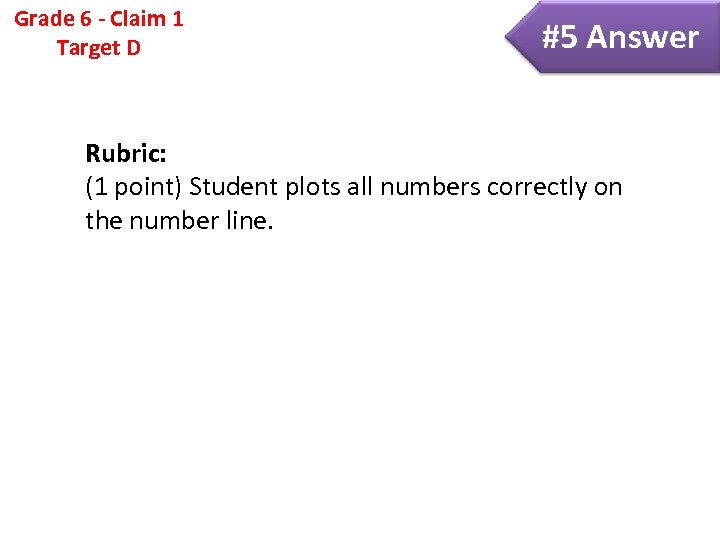 Grade 6 - Claim 1 Target D #5 Answer Rubric: (1 point) Student plots