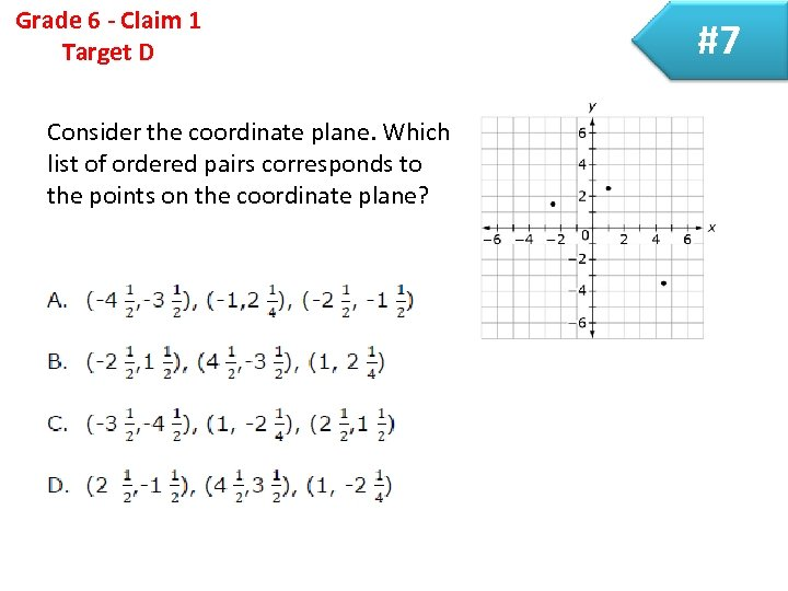 Grade 6 - Claim 1 Target D Consider the coordinate plane. Which list of
