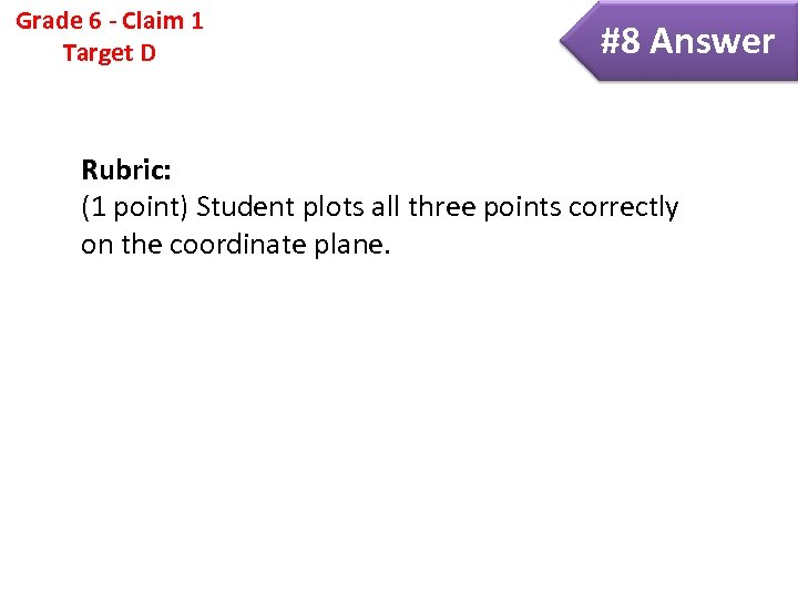 Grade 6 - Claim 1 Target D #8 Answer Rubric: (1 point) Student plots