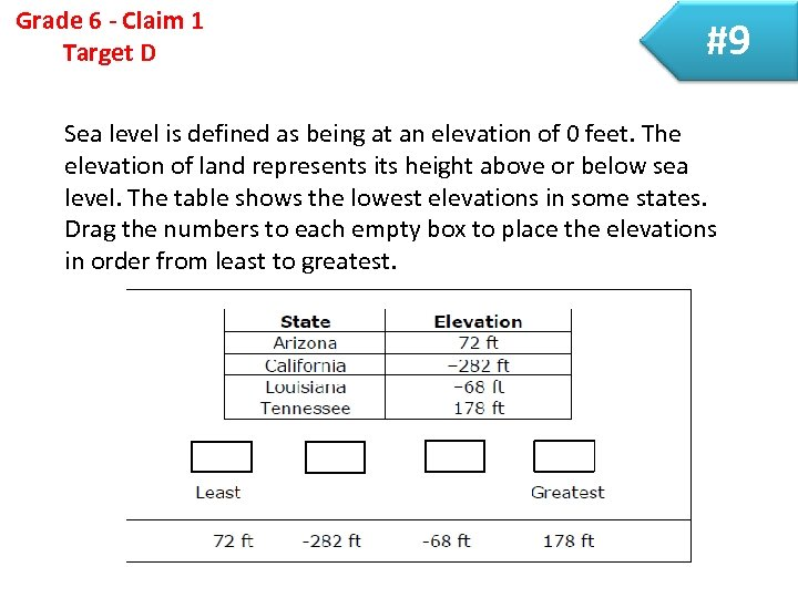 Grade 6 - Claim 1 Target D #9 Sea level is defined as being
