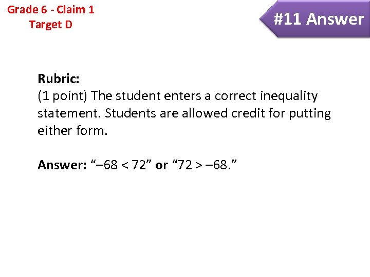 Grade 6 - Claim 1 Target D #11 Answer Rubric: (1 point) The student